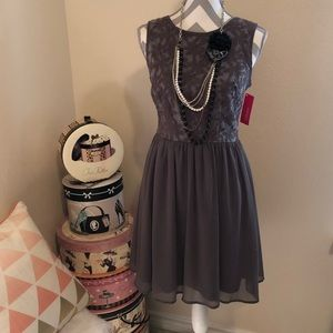Gray Floral Embroidered Dress SALE